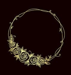 floral frame abstract line elegant element vector image