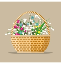 Flowers in a basket vector