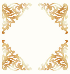 Golden damask elements background with ornament vector