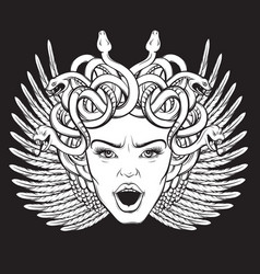 Gorgon with wings snakes and open mouth in hand vector