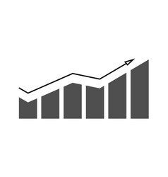 growing chart with arrow on vector image