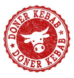 Grunge doner kebab stamp seal vector