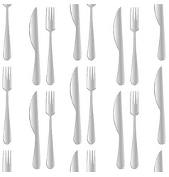 halftone sketched knife and fork seamless pattern vector image