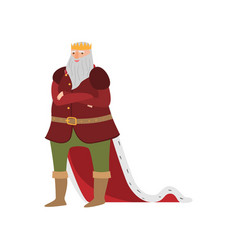 happy smiling royal king from fairy tale in long vector image