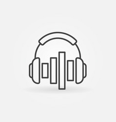 headphones with equalizer icon or symbol in vector image