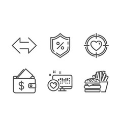 Heart wallet and loan percent icons set sync vector