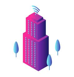 Intelligent building icon isometric style vector