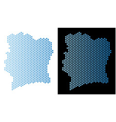 Ivory coast map hex-tile abstraction vector
