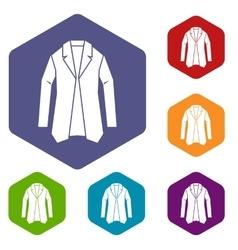 Jacket icons set vector