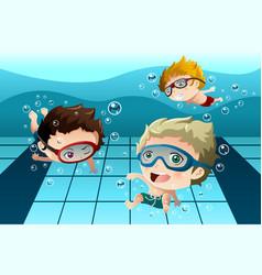 Kids having fun in the swimming pool vector