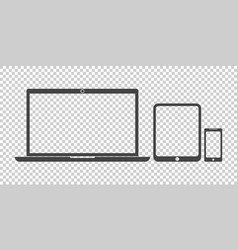 Laptop tablet phone icon flat vector