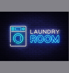laundry room neon logo dry cleaning neon vector image