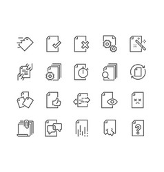 Line document flow management icons vector