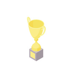 low poly isometric trophy cup vector image