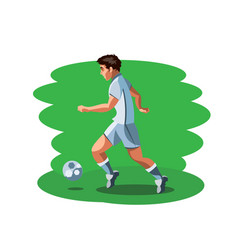 man footballer standing with ball vector image