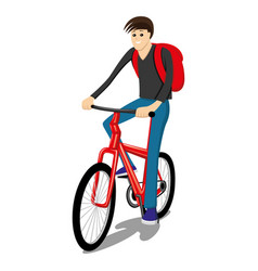 man rides on a red bicycle vector image