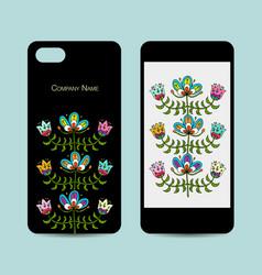 Mobile phone design folk style floral background vector