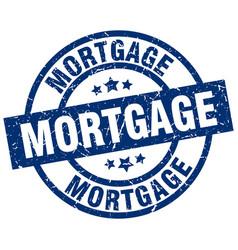 Mortgage blue round grunge stamp vector