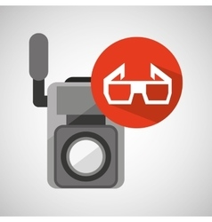Movie video camera 3d glasses icon vector