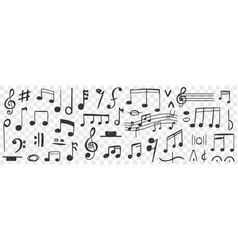 Musical notes drawings doodle set vector