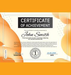 Official orange certificate with blue orange vector