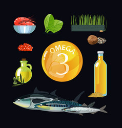 omega 3 vector image