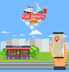 online order and fast food delivery with vector image