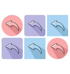 outlined icon of left curved arrow with parallel vector image