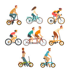 People riding bicycles set men and women on bikes vector