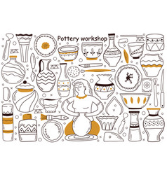 Pottery workshop doodle set vector