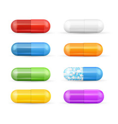 realistic detailed 3d color pills and vitamins set vector image
