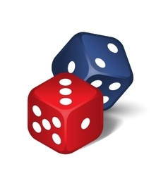 Red and blue dices vector image