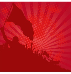 Red background with demonstrators vector