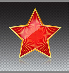 Red star with gold metal rim and radiating from vector