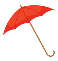 Red umbrella with handle parasol icon closeup vector
