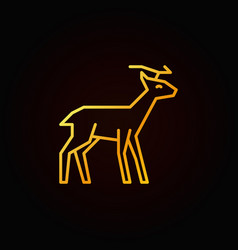 reindeer yellow line icon deer linear vector image