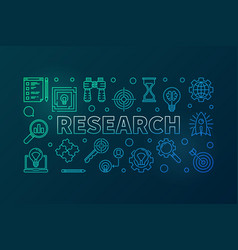 research outline colored horizontal vector image