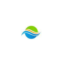 round wave abstract water eco logo vector image