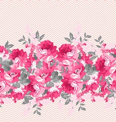 Seamless floral border with pink roses vector