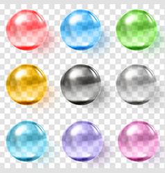 Set multicolored transparent glass spheres vector