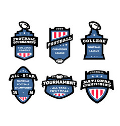 set of american football logos emblems labels vector image