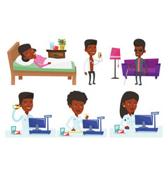 Set of doctor characters and patients vector