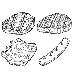 Set of hand drawn grilled meat grilled salmon vector