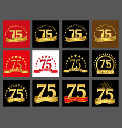 set of number seventy five year 75 year vector image