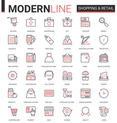 shopping retail thin red black line icon vector image
