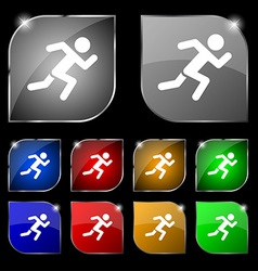Simple running human icon sign set of ten colorful vector