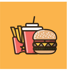 Soda soft drink burger sandwich and french fries vector