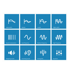 sound wave types icons on blue background vector image