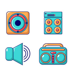 Speaker icon set cartoon style vector