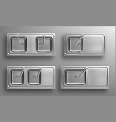Stainless kitchen sinks with faucets in top view vector